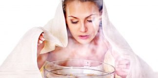 woman facial steaming treatment