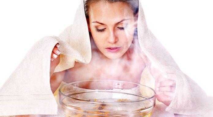woman facial steaming treatment