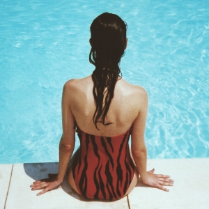 woman wearing black and red monokini